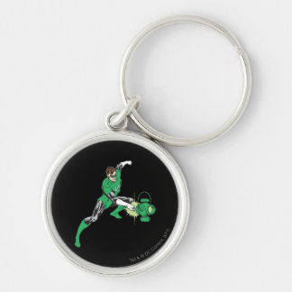 Green Lantern with Lantern 2 Silver-Colored Round Key Ring