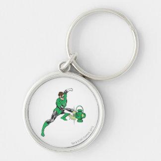 Green Lantern with Lantern 2 Silver-Colored Round Key Ring