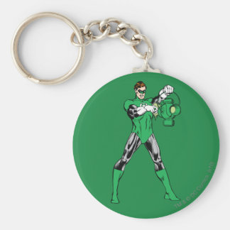 Green Lantern with Lantern Basic Round Button Key Ring