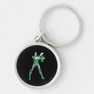 Green Lantern with Lantern Silver-Colored Round Key Ring