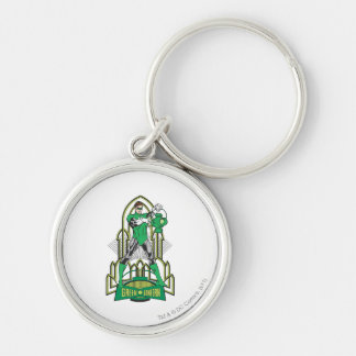 Green Lantern with Letters Silver-Colored Round Key Ring