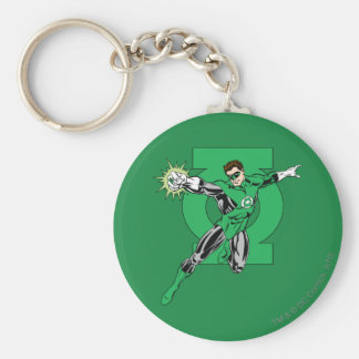 Green Lantern with Logo Background Basic Round Button Key Ring