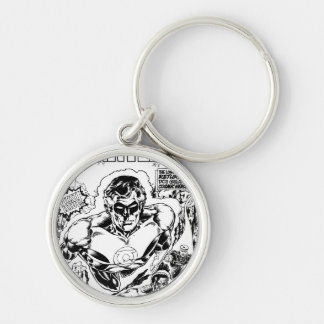 Green Lanterns Flying, Black and White Silver-Colored Round Key Ring