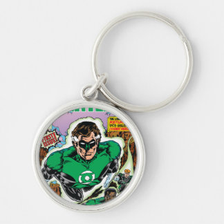 Green Lanterns Flying Silver-Colored Round Key Ring