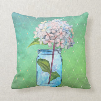 Green Latticed Hydrangea in Blue Jar Cushion