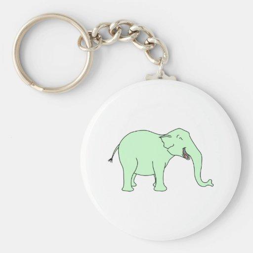 Green Laughing Elephant. Cartoon. Key Chains