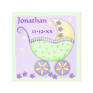 Green Lavender Baby Buggy Name Birth Date Art Gallery Wrap Canvas