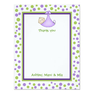 Green & Lavender Baby Girl Shower Thank You Note 11 Cm X 14 Cm Invitation Card