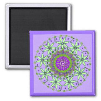 Green/Lavender Flowers Mandala Maagnet Square Magnet