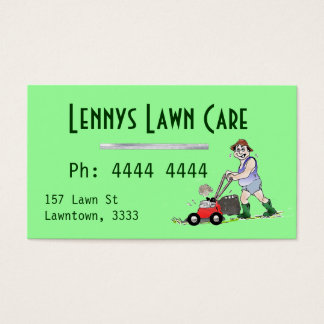 Green Lawn Mowing Man Business Cards