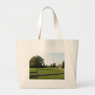 Green Lawn with Wood Fence and Trees Jumbo Tote Bag