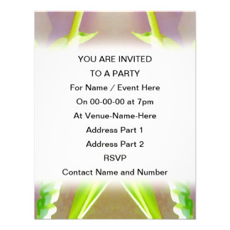 Green Leaf Abstract Custom Announcements