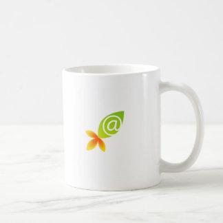 Green leaf basic white mug