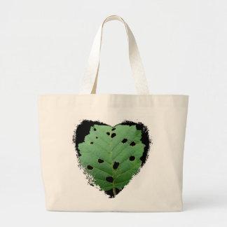 Green Leaf Black Background Tote Bag