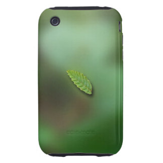 Green Leaf Blurred Background No Greeting Tough iPhone 3 Cases