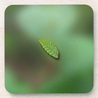 Green Leaf Blurred Background No Greeting Coaster