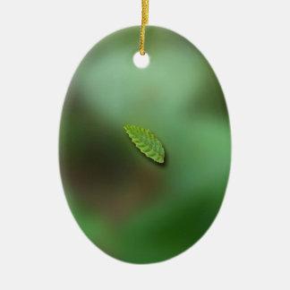 Green Leaf Blurred Background No Greeting Christmas Ornament