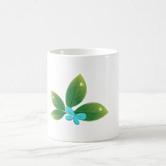 Green leaf butterfly basic white mug