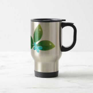 Green leaf butterfly stainless steel travel mug