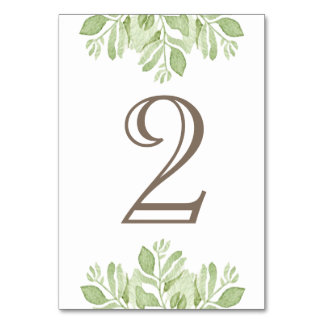 Green Leaf Garden  Watercolor | Table Number Table Card