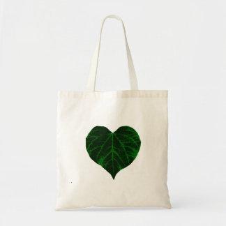 Green Leaf Heart Tote Bags