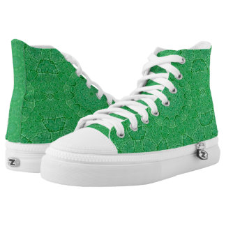 Green Leaf Hi Top Printed Shoes