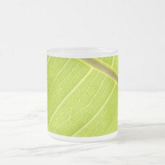 Green Leaf/ Frosted Glass Mug