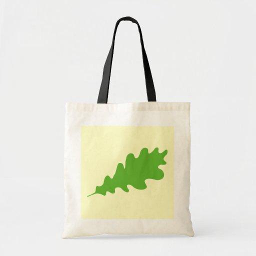 Green Leaf, Oak Tree leaf Design. Tote Bags