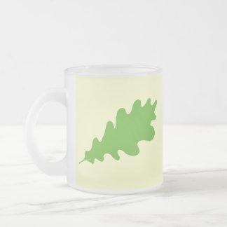 Green Leaf, Oak Tree leaf Design. Frosted Glass Mug