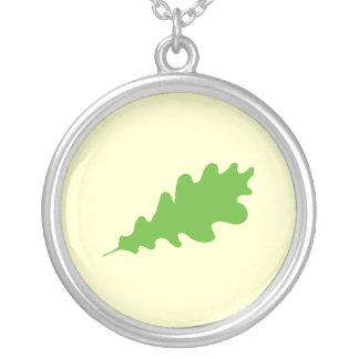 Green Leaf, Oak Tree leaf Design. Round Pendant Necklace