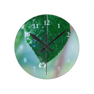 Green Leaf on Pastels Wall Clock