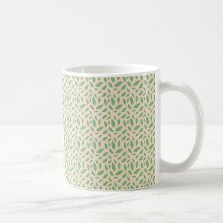 Green Leaf Pattern Basic White Mug