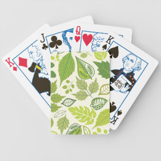 Green Leaf Pattern Bicycle Playing Cards
