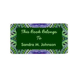 green leaf pattern bookplate address label