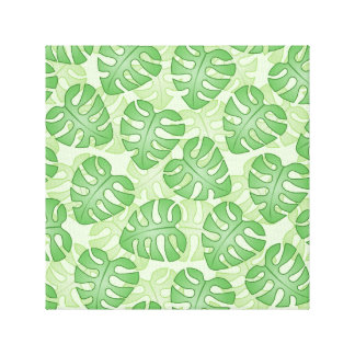 Green Leaf Pattern. Stretched Canvas Print