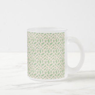 Green Leaf Pattern Frosted Glass Mug