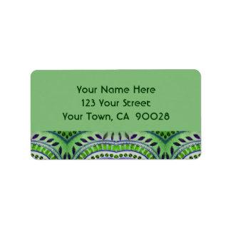 green leaf pattern address label
