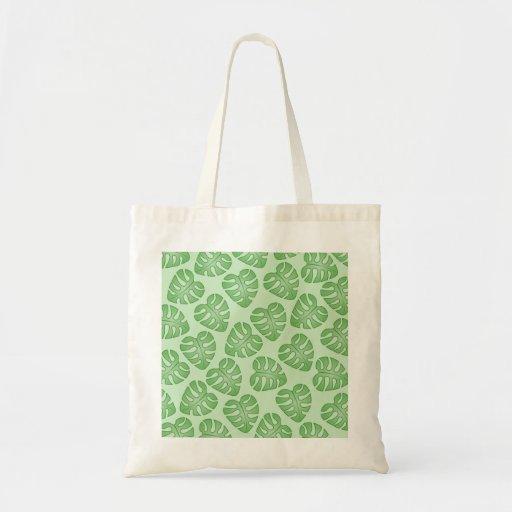 Green Leaf Pattern, Monstera Leaves. Bags