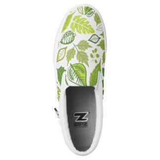 Green Leaf Pattern Printed Shoes