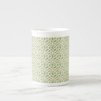 Green Leaf Pattern Bone China Mugs