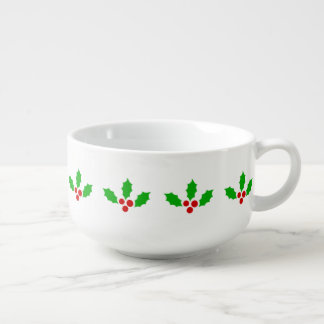 Green Leaf Red Fruit Holly Christmas Holiday Theme Soup Bowl With Handle