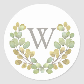 Green Leaf Simplicity Monogram Wreath Sticker