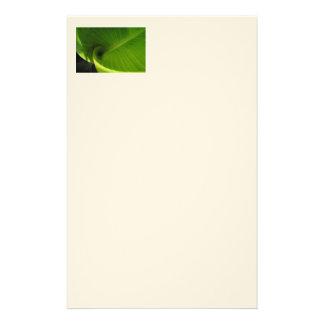 Green Leaf Swirl Stationery Design