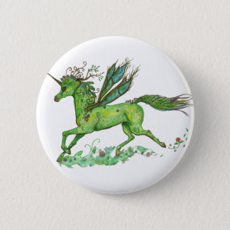 Green Leaf Unicorn Pegacorn Pegasus Horse 6 Cm Round Badge