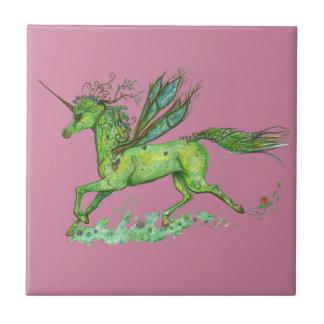 Green Leaf Unicorn Pegacorn Pegasus Horse Ceramic Tile