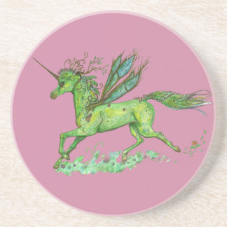 Green Leaf Unicorn Pegacorn Pegasus Horse Coaster