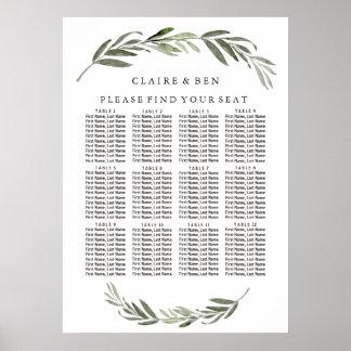 Green Leaf Wreath Wedding Seating Chart