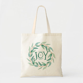 Green Leafs Christmas Wreath Text Joy Template Tote Bag