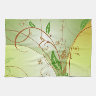 Green Leafs Paint Tea Towel
