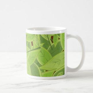 Green Leafs Pattern Basic White Mug